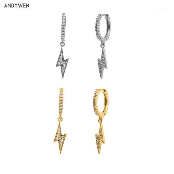 top popular ANDYWEN 925 Sterling Silver Two Lighting Drop Earring Women Circle CZ Zircon Luxury Fashion Rock Punk Crystal Jewelry1 2021