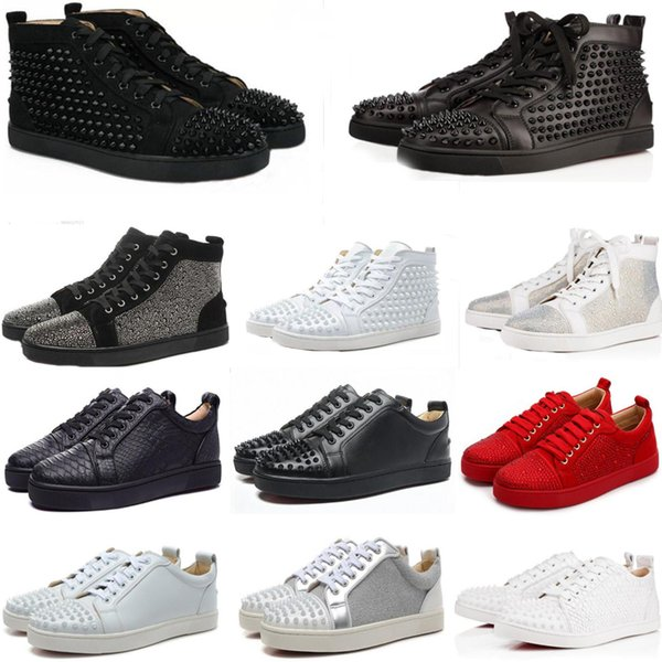 best selling NEW 2020 Sneakers Red Bottom shoe Low Cut Suede spike Shoes For Men and Women Shoes Party Wedding crystal Leather Sneakers