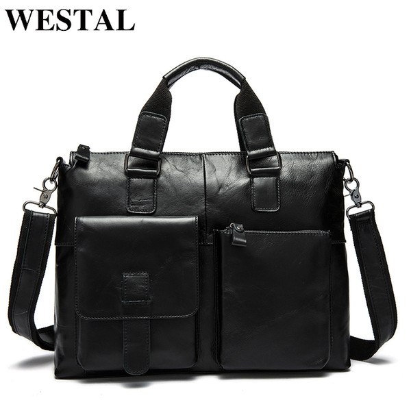 top popular WESTAL Men's Bag Genuine Leather Briefcase Men Laptop Bag Leather Office Bags for Men Totes Business Briefcase Bags for Document 2020