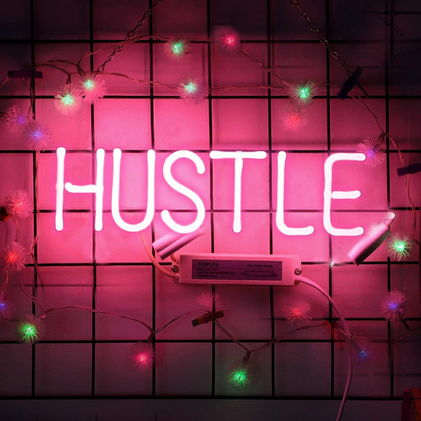best selling Neon Sign Hustle Pink Neon Light Glass Night Light for Kids Bedroom Office Bar Christmas Party Wall Light 11.8 x 4.3 Inch Free Shipping