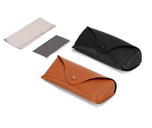 top popular SUMMER Black Brown BOX New Leather Case +cleaning Black & Brown with cleaning Cloth Factory CHEAP Price Top quality DROP SHIPPING 2021