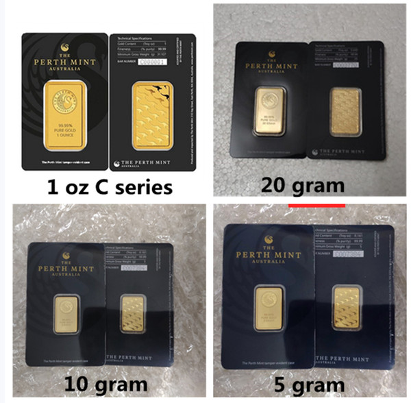 best selling 1oz The Perth Mint Bullion C series Australia Gold gold-plate bullions Metal craft Collections Gold-Plated Bars Artwork Crafts Home Decora black 20gr 10gr 5gr