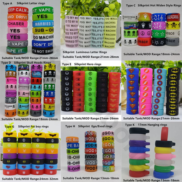 top popular Custom Ecig Silicone Vape Band Colorful Rubber Ring Personalized Silicon Bands With Your Logo Or Name For e cigarette Vapor Mod Tank Glass 2021