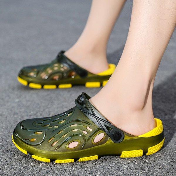 Summer Jelly Sandals Men Yellow Non Slip Outdoor Beach Sandals Man Shoes Clear Jelly Hollow Garden Slippers Men Sandalias Hombre