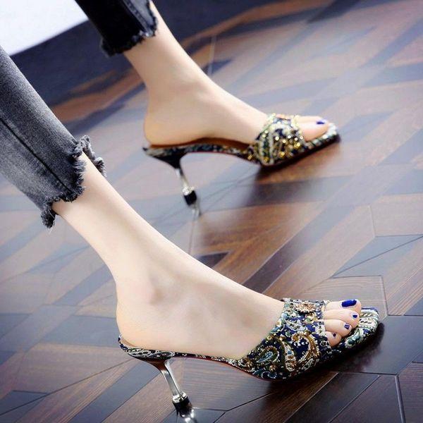 Embroidery Summer Women High Heels Sandals Open-toepeep High Heels Ladies Sandals Personalized Rhinestone Stiletto SandalsDress Shoes