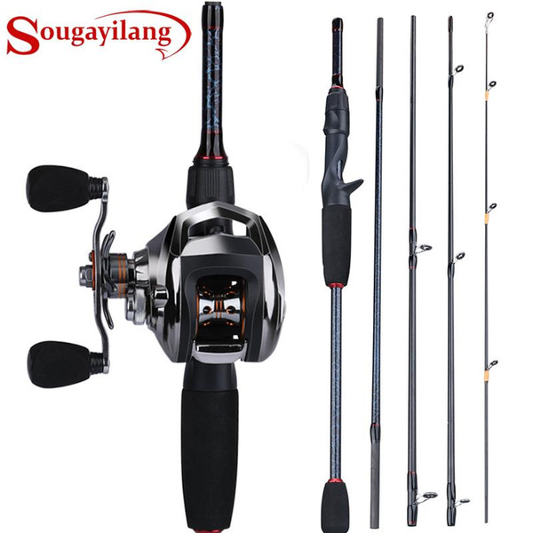 best selling Sougayilang 4 Sections 1.8-2.4m Fishing Rod and 18+1BB Baitcasting Reel High Quality Carbon and Casting Fishing Reel Sets