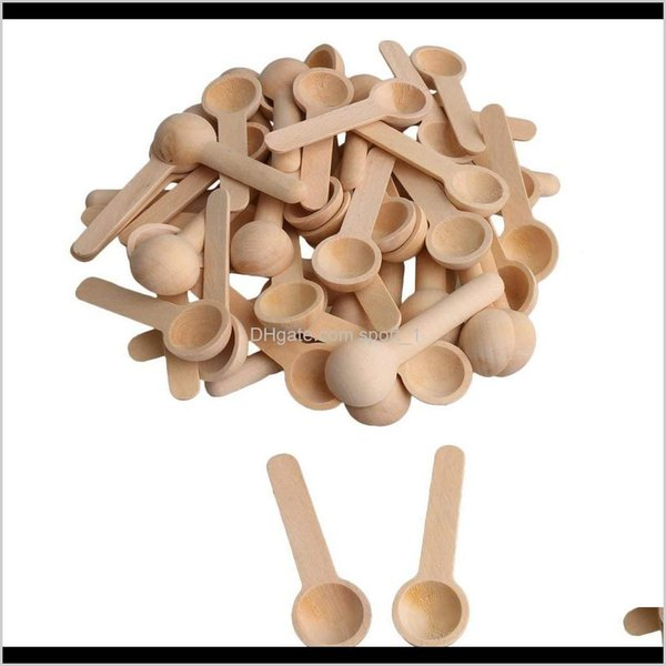 top popular 100Pcs Lot Mini Nature Wooden Home Kitchen Cooking Spoons Tool Scooper Salt Seasoning Honey Coffee Spoons Shiping 52Ban O67Ku 2021