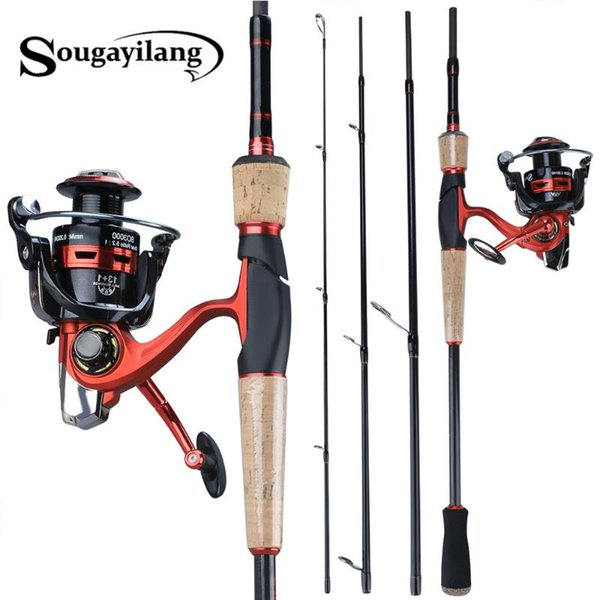 top popular Rod Reel Combo Sougayilang Portable Fishing With 13+1BB Spinning Carbon Fiber Pole And Wheel Kit 2021