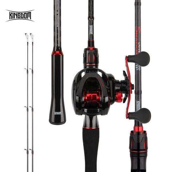 top popular Rod Reel Combo Kingdom ShadowTip Carbon Fiber Fishing Casting 2.1 2.4m Lure Weight 5-20g MF Power 2 Tips Ultralight Pole 2021