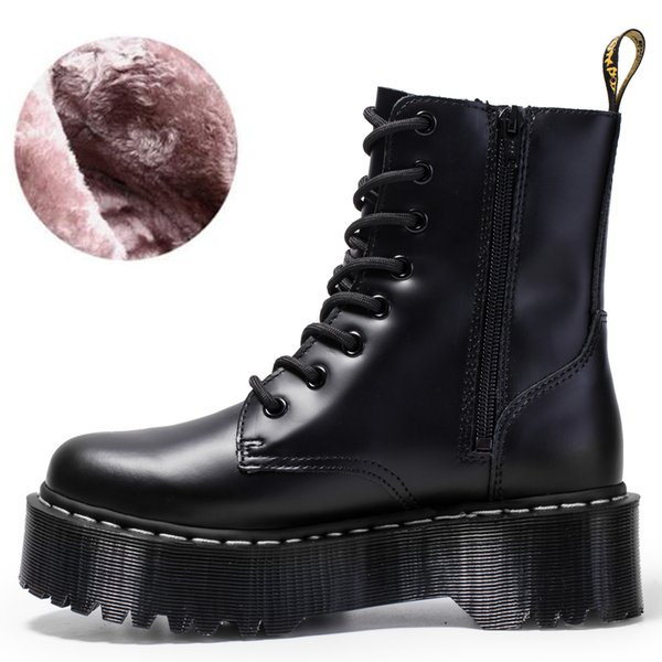 top popular Women Black Martens Boots Genuine Leather Boots for Women Ankle Boots Punk Dr Motorcycle Shoes Men Thick Heel Platform Winter Shoes 2021