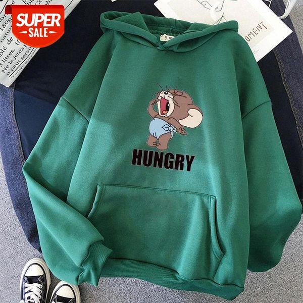 top popular oversized hoodie women for tops clothes Hungry Cartoon mouse Kawaii print Anime funny Harajuku sweatshirt Korean style #1f8H 2021