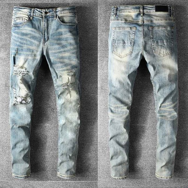 top popular Mens Jeans Classic Hip Hop Pants Stylist Jeans Distressed Ripped Biker Jean Slim Fit Motorcycle Denim Jeans 9V0Y 2021