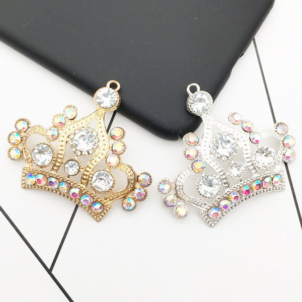rhinestone crowns for queens 2021 - Charms 5pcs Bag AB Rhinestone Crown Charms Bracelets Jewelry Floatings Queen Alloy Pendant For Hair Jewelry Accessories DIY Craft YZ073