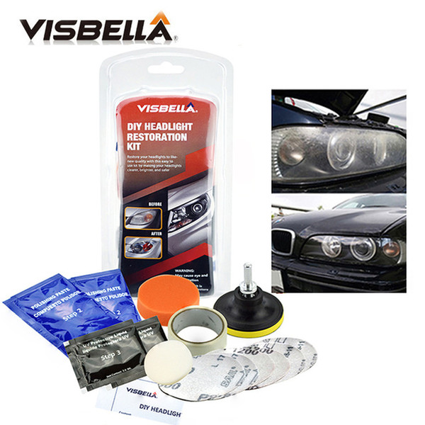 best selling utomobiles & Motorcycles VISBELLA Headlight Restoration Kit Polishing Headlamp Brightener DIY Car Light Lenses Deep Clean Car Headlight R...