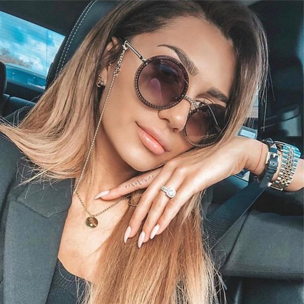 top popular 2020 New Small Fragrance Round Frame Metal Chain European and American Explosion Sunglasses Frameless Can Be Equipped 2021