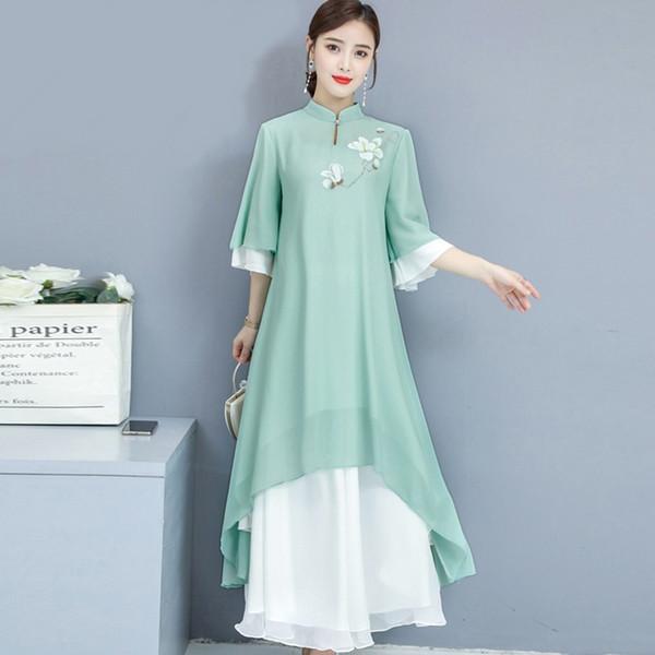 Chinese Style WomenS Clothing Summer Cheongsam Dress Mandarin Collar Robe Vintage Femme Chinese Traditional Dress 11232 Apparel Ethnic Clothing DIY Clothing Mens Clothing Womens Clothing