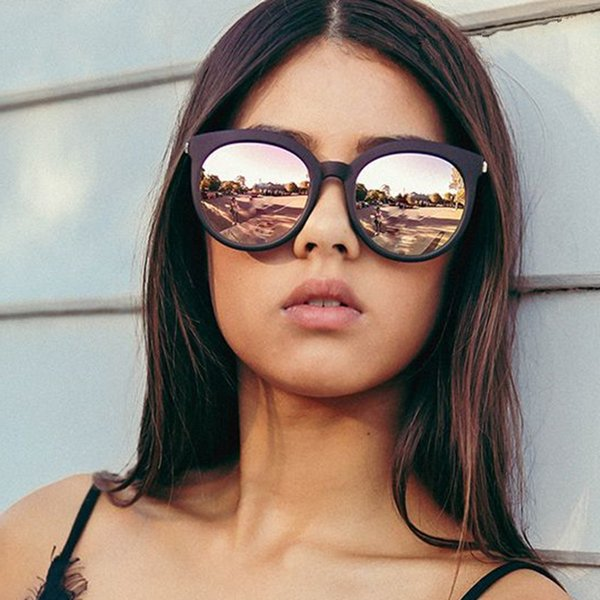 top popular New Oversize Cat Eye Women Fashion Summer Style Big Size Frame Mirror Sunglasses Female Oculos Uv400 741 2021