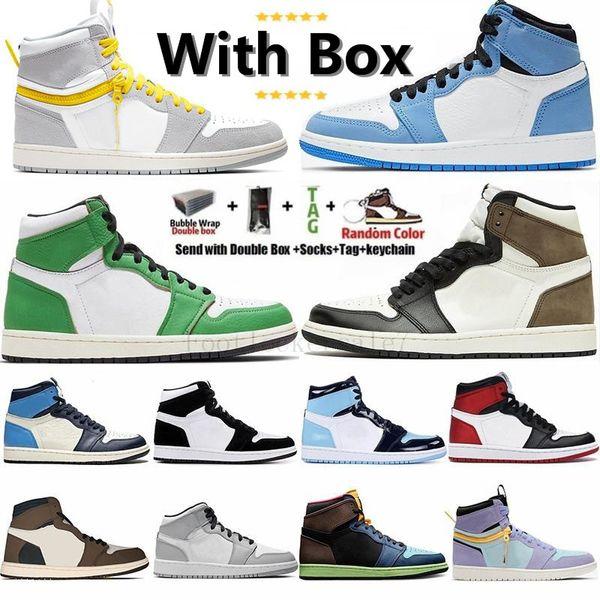 top popular With Box Jumpman 1 UNC Twist Travis Scotts Dark Mocha University Blue High 1s Mens Basketball Shoes Women Airs Sneakers Trainers Retro 2021