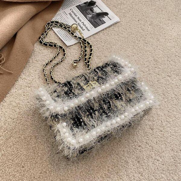 women handbag sweet little fresh stripes Mao Maos chain bag winter plush shoulder handbags fashionable Pearl decorative womens messenger bags