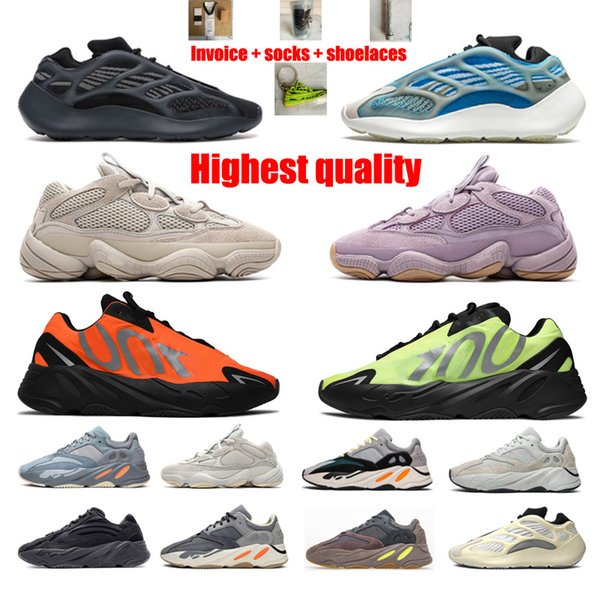 best selling Kanye West Static Reflective 700 V2 2021 Top Quality Men's and Women's Inertia Tephra solid gray practical black Size 36-46 With Half