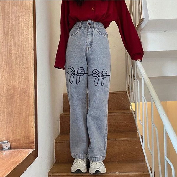 Portrait Personality Bow Embroidered Women's High-waist Jeans Wide Leg Loose-leg Thin in Old-fashioned Pants Qkr5, Blue