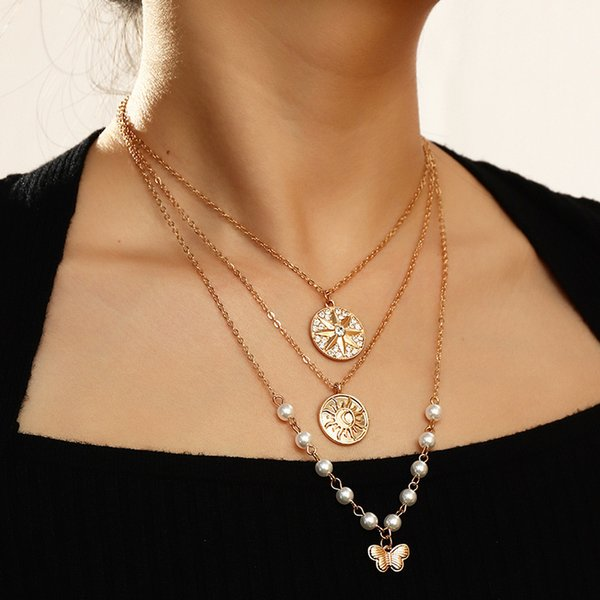 Nz1973 fashion jewelry personalized geometric pendant creative Pearl Star Butterfly Necklace Follow the feeling and choose what you like at first sight.