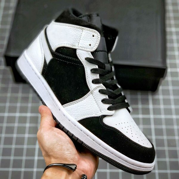 top popular 1 Mid Black and white panda Women Men Basketball Shoes Outdoor Sport Sneakers Mens Trainers 2021