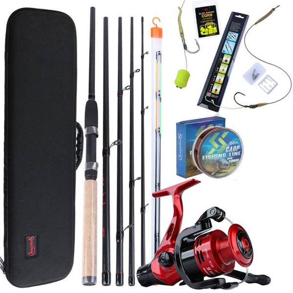 best selling Sougayilang 3.0m Carp Fishing Rod Combo 6 Sections Feeder Rod and Carp Fishing Reel with Line Lure Hook Carrier Bag Full Kits