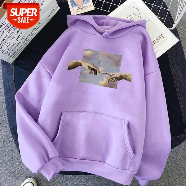 top popular Hands print Oversized Womens hoodie Kawaii Loose Streetwear Sweatshirts Women Hooded Simple Pullovers Korean Style Warm #0a2M 2021