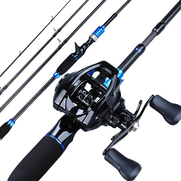 top popular Rod Reel Combo Sougayilang 1.8m 2.1m Lure Fishing Portable 4 Sections Carbon And 12+1BB Baitcasting Wheels Set Pesca 2021