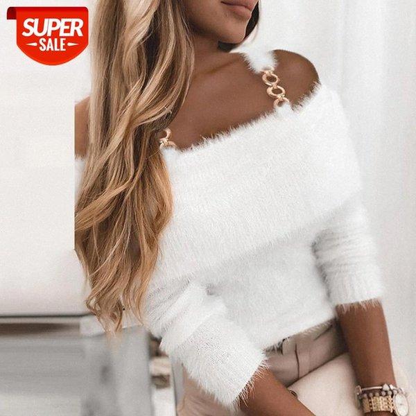 top popular BiggOrange Solid Slash Neck Sweaters women Ladies Casual Long Sleeve Pullover Winter Sexy Off Shoulder Straps Shaggy Autumn Tops #FO74 2021