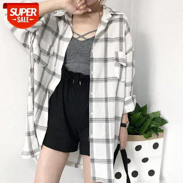 best selling Plaid Shirts female summer Korean style Blouses loose wild student Harajuku long-sleeved mid-length shirt sun protection jacket #3s7W