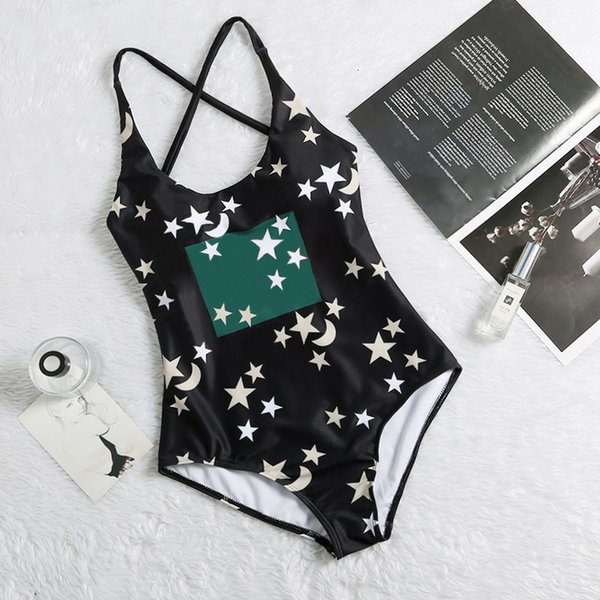 top popular Star Print Designer Swimsuits Padded Push Up Women One-piece Swimwear Outdoor Beach Travel Vacation Must Bandage Swimsuits Casual Must 2021