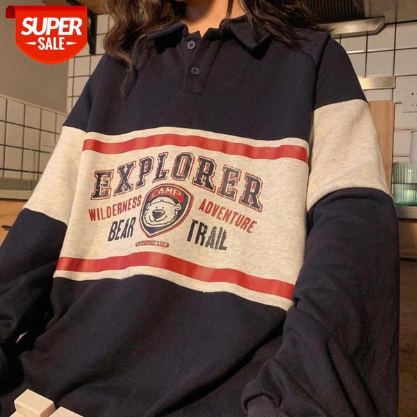 best selling 2020 winter Vintage Polo Collar Loose Harajuku Hoodie Top Long Sleeve Teens Oversized Hoodies Women Print Bear Sweatshirt Trendy #cT5Y