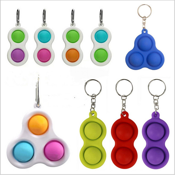 best selling Push Pop Fidget Simple Dimple Keychain Key Ring Finger Toys Pop It Fidget Sensory Squeeze Toys Squeezy Vent Balls Anti Anxiety 2021 H25P7KR