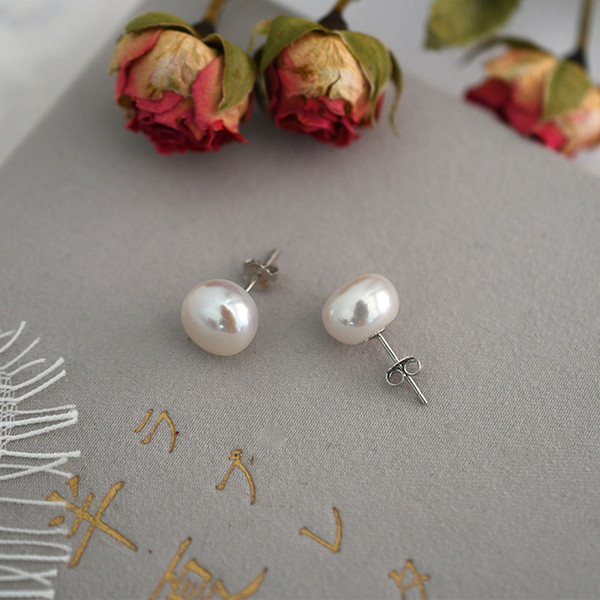 Stud Earrings ASHIQI Natural Freshwater Pearl Stud Earrings 2021 Trendy for Women Real 925 Sterling Silver Jewelry Gift Wholesale