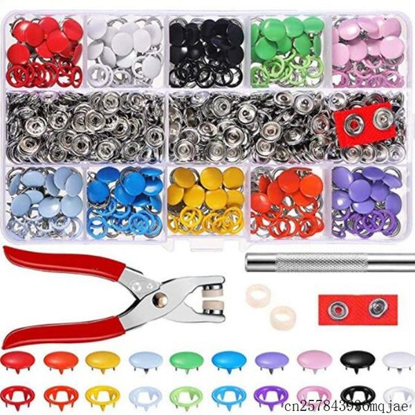best selling 10Sets Five-prong Buckle Baby Button Hand Pressure Pliers Set Installation Tools Color Button Set 10 Colors
