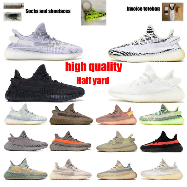 top popular Kanye West 3M Reflective Running Shoes Mens Womens Cinder Zebra Tail Light Reflective Israfil Static Women Sport Shoes Size 36-48 With Half 2021