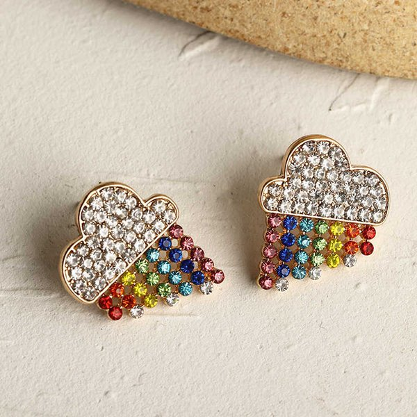 Ez3255 fashion accessories new rainbow creative color personalized Earrings for women Follow the feeling and choose what you like at first sight.
