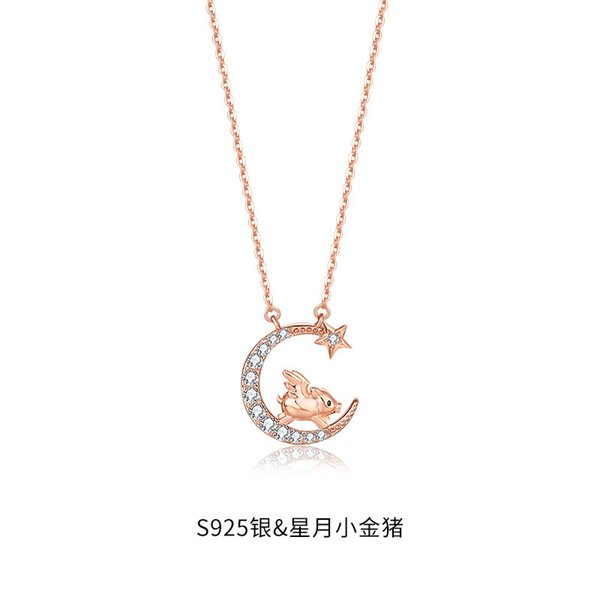 Douze collier de cochon du zodiaque-925 argent