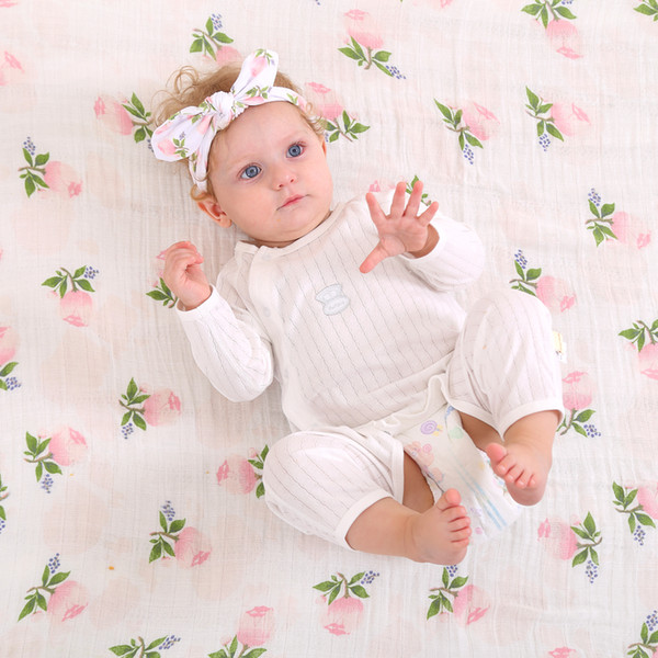 top popular Newborn Baby Swaddling Blankets + Bunny Ear Headbands Set Baby Floral Swaddle 100% Cotton Towel Wrap Hairbands Bird Fruit Print BHB13 2021