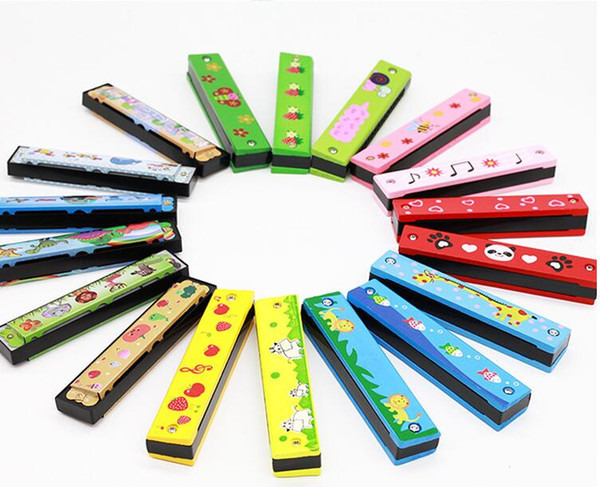best selling Wooden painted harmonica children's enlightenment instrument infant early education educational toys harmonica toys gift cultivate talent