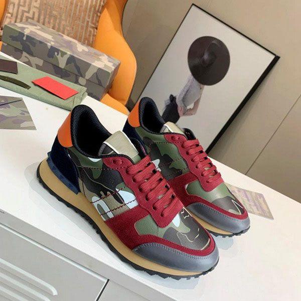 top popular designer luxury edging fashion stud camouflage sports shoes men and women flat shoes camouflage rock runner sports shoes 2021