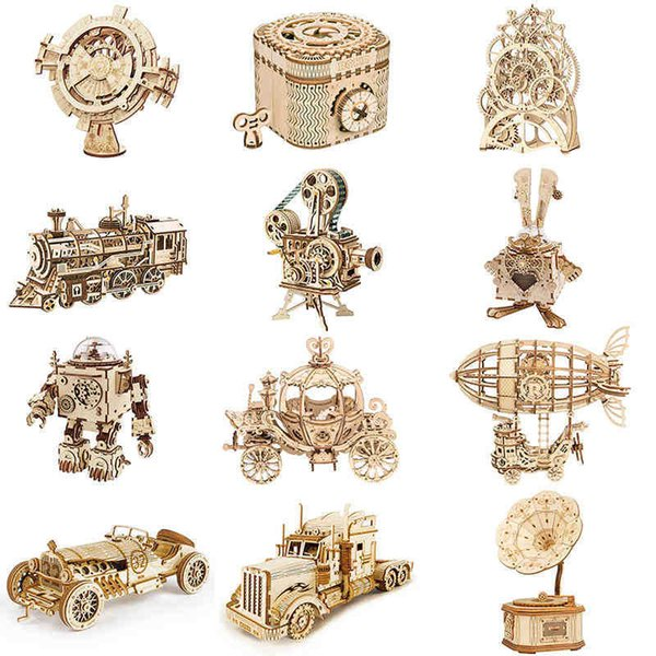 best selling DIY 3D Wooden Puzzle Gear Model Building Kit Toys Gift For Children Teens