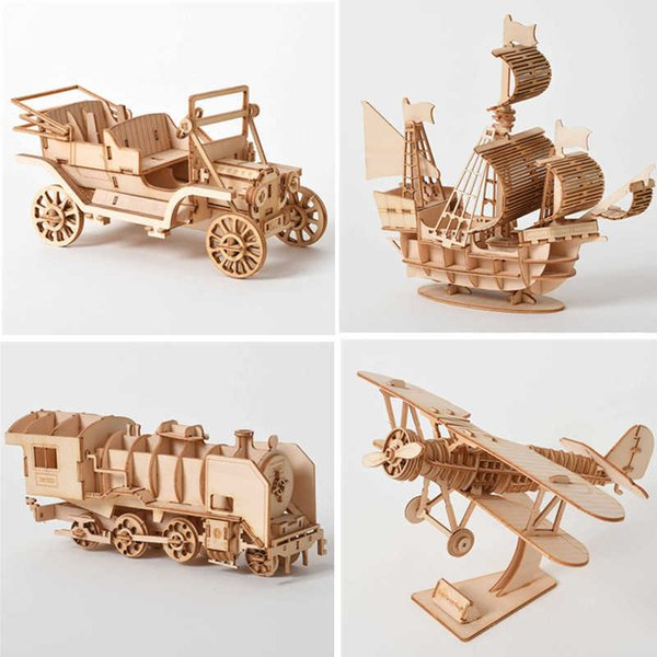 best selling 3D Wooden Puzzle DIY Handmade Mechanical Toys For Children Adult Kit Game Assembly Model Ships Train Airplane