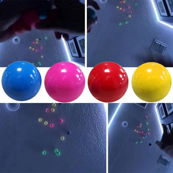 top popular Luminous Ceiling Balls Stress Relief Sticky Ball Glued Target Ball Light Decompression Balls Slowly Squishy Glowing in dark Toys for Kids 2021