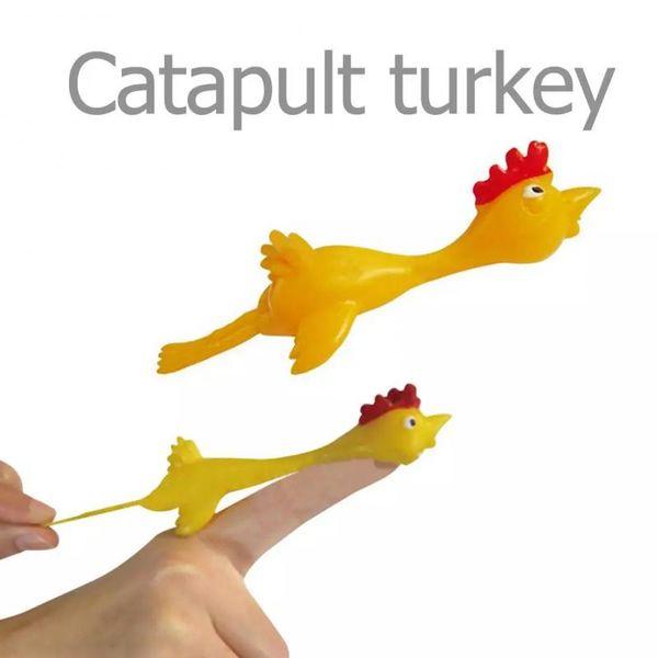 50pcs Finger Birds Fun Novelty Toys Funny Joke Rubber Chicken Stretchy Flying Turkey Party Favors Practical Joke Toys