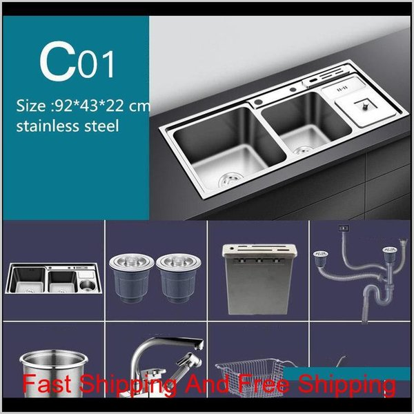 best selling Stainless Steel Nano Sink Three Trough With Trash Can Knife Holder Sink Brushed Silver 92 * 43Cm Sink Set Kitchen Sinks Rvx7F Hhzyt