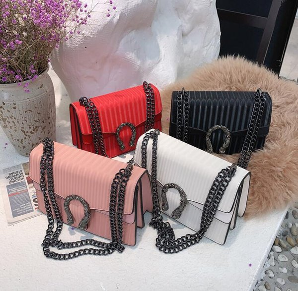 Factory outlet women handbag fashionable stripedes chain bag embossed leather shoulder bags streets trend striped womens messenger handbags