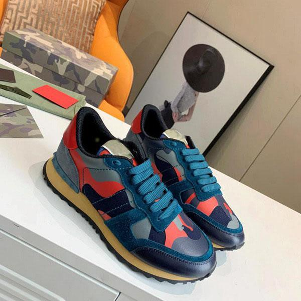 best selling 2021 designer luxury edging fashion stud camouflage sports shoes men's and women's flat bottom camouflage rock and roll runners' sports shoe